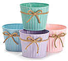 "6"" PASTEL TIN POT COVER SET W/ TWINE BOW"