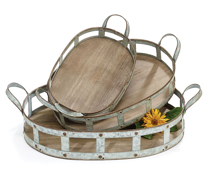 NESTED WOOD/METAL TRAY SET