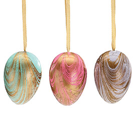 MARBLED EGG ORNAMENT SET IN NET BAG