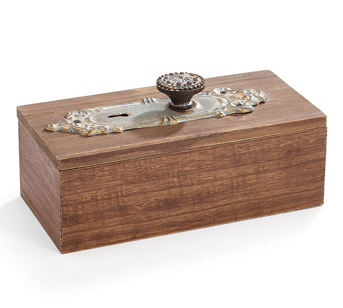 WOOD BOX WITH ANTIQUE DOOR KNOB