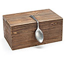WOOD BOX WITH SPOON HANDLE DECOR