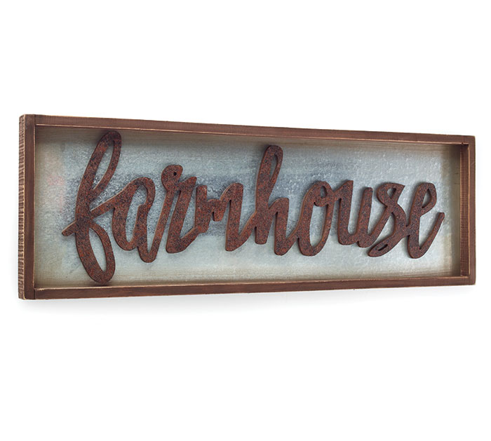FARMHOUSE TIN/WOOD WALL HANGING