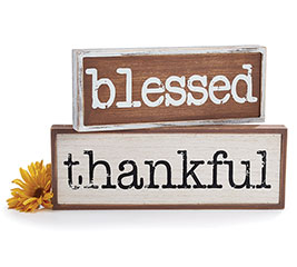 BLESSED  THANKFUL WOOD DECOR SIGN SET
