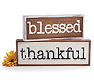 BLESSED  THANKFUL WOOD DECOR SIGN SET