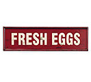 FRESH EGGS RED METAL WALL HANGING