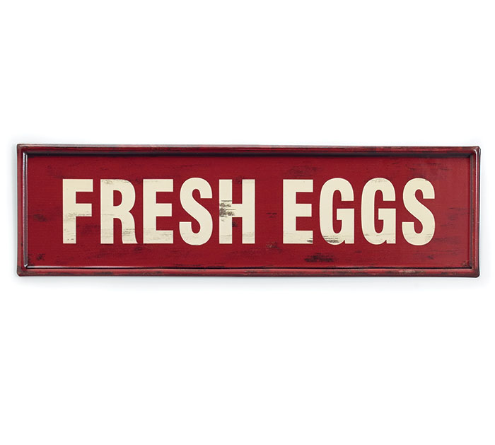 FRESH EGGS RED METAL WALL HANGING