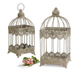 RUSTIC LACE TRIMMED METAL BIRDCAGE