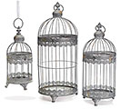 RUSTIC BLUE NESTED BIRDCAGE SET