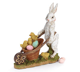 RESIN BUNNY WITH EGG CARTE FIGURINE