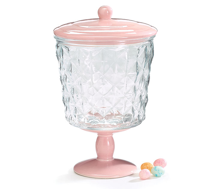PINK PEDESTAL BASE GLASS CANISTER