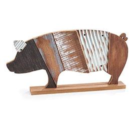 RUSTIC WOOD SLAT PIG SHELF SITTER