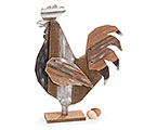 RUSTIC WOOD SLAT ROOSTER SHELF SITTER