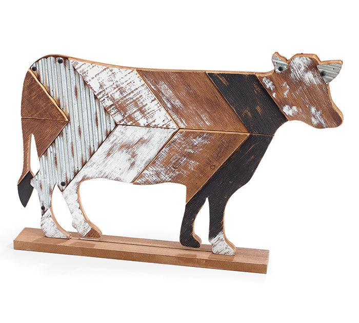 RUSTIC WOOD SLAT COW SHELF SITTER