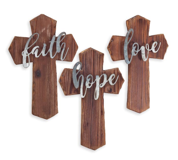 DISTRESSED WOOD/METAL CROSS WALL HANGING