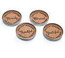 JAR LID CORK COASTER SET W/ MESSAGES