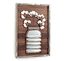 TIN/WOOD/COTTON MASON JAR WALL HANGING