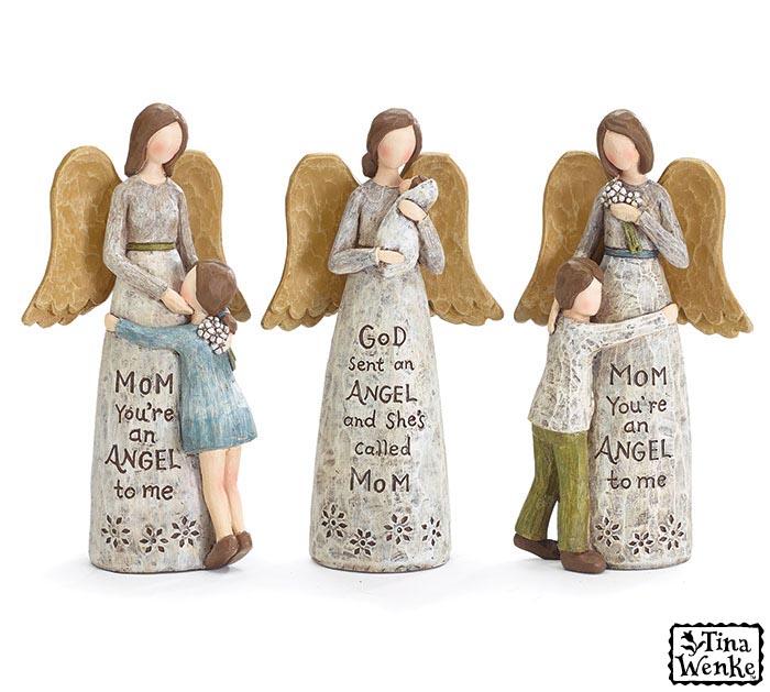 ANGEL AND CHILD ASSORTED FIGURINE SET