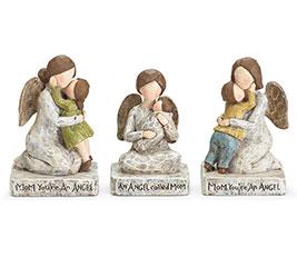 KNEELING ANGEL WITH CHILD FIGURINE SET