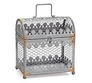 RUSTIC GRAY BLUE WIRE CHEST