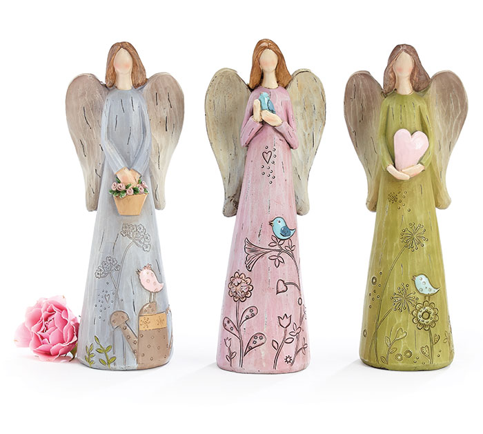 SPRING ETCHED RESIN ANGEL FIGURINE SET