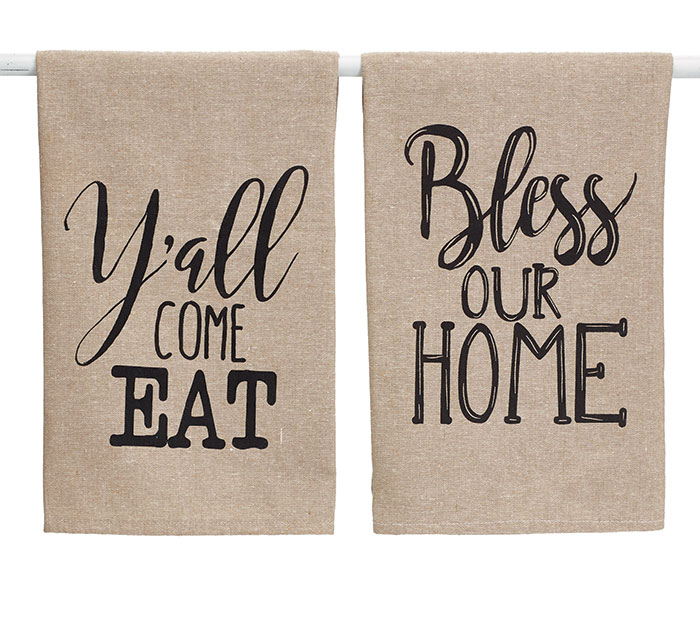 BLESS OUR HOME COTTON TEA TOWEL SET