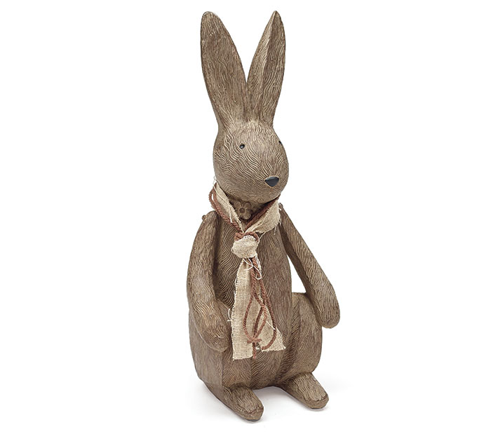 WOOD GRAIN RESIN BUNNY FIGURINE