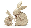 NATURAL RESIN BUNNY FIGURINE SET