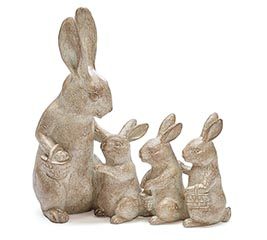 NATURAL RESIN BUNNY FAMILY FIGURINE