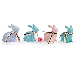 SOLID SPRING COLORS CERAMIC LG BUNNY SET