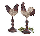 WOOD GRAIN RESIN ROOSTER/HEN FIGURINES