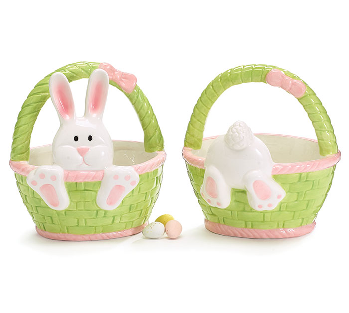CERAMIC EASTER BASKET CANDY DISH SET