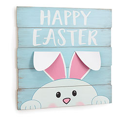 HAPPY EASTER PEEKING BUNNY WALL HANGING