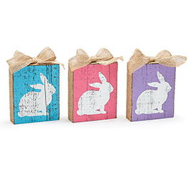 BUNNIES ON WOOD BLOCK SHELF SITTER SET