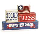 GOD BLESS AMERICA WOOD SHELF SITTER