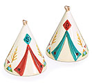 HAPPY CAMPER TEEPEE CERAMIC SALT/PEPPER
