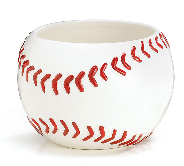 LARGE BASEBALL CERAMIC PLANTER/BOWL