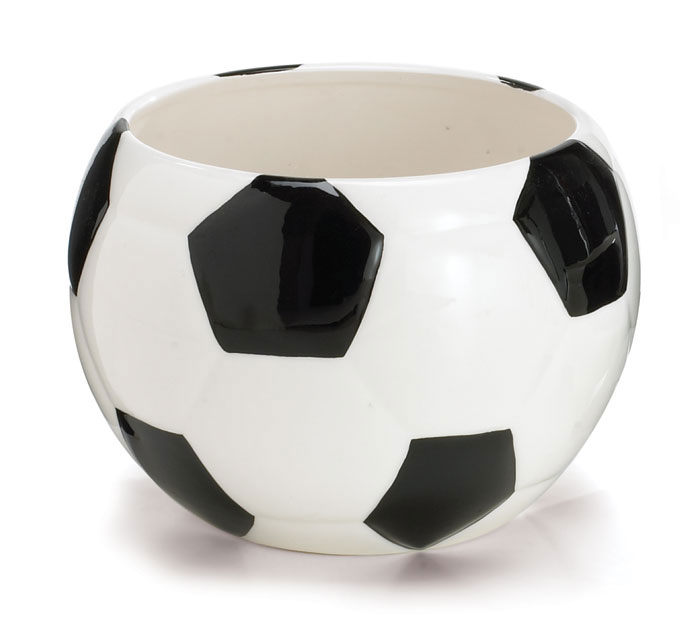 LARGE SOCCER BALL CERAMIC PLANTER/BOWL