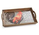 FARM FRESH WOOD ROOSTER TRAY
