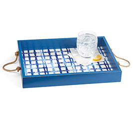 BLUE SHIBORI TRAY WITH ROPE HANDLES