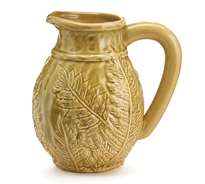 EMBOSSED GREEN LEAF CERAMIC PITCHER