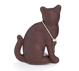 CHOCOLATE RESIN CAT W/KEY CHARM FIGURINE
