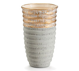 GOLD DIPPED GRAY CERAMIC VASE