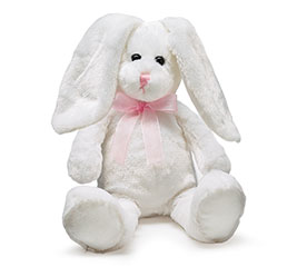 PLUSH WHITE BUNNY W/SHEER PINK BOW
