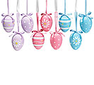 FLORAL EGG ORNAMENT SET IN NET BAG