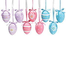 SPRING COLORS EASTER EGG ORNAMENT W/CRAT