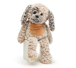 "17"" BEIGE CUDDLE PUPPY WITH CURLY FUR"