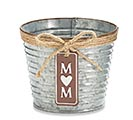 "4"" RIBBED TIN POT COVER W/ MOM CHARM"