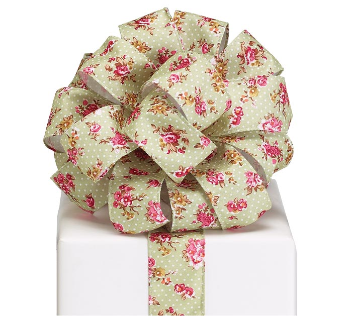 #9 LIGHT GREEN/PINK FLORAL WIRED RIBBON