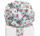 #40 ROSES ON BLUE LINEN WIRED RIBBON