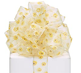 #9 SHEER YELLOW DAISY WIRED RIBBON